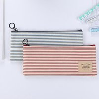Brief Grid Stripes Canvas Pencil Bags Storage Organizer Case School pencial cases Promotional Gift Stationery EZ58