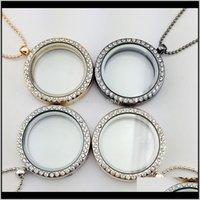 Pendenti di gioielli per le donne Medagli di cristallo 30mm vivente Memory Charm Collane Collane di medaglione galleggiante Collana 4 colori Consegna di goccia 2021 HY