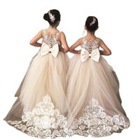 Girl's Dresses White Flower Girl Dress 2021 Pearl Lace Princess For Sleeveless First Communion Child Wedding Party