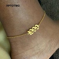 Link, Chain Stainless Steel Birth Year Anklets For Women Old English Number 1995 Gold Anklet Bracelet Foot Valentine Jewelry Gift