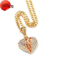 Jewelry Hip Hop Stainless Steel Mini Heartbreak Pendant Men's Love Necklace Vacuum Electroplating Trend Jewelry