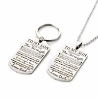 Keychains MYLONGINGCHARM 1pc Stainless Steel Keychain Necklace-Gifts To My Son 22x39mm-Love Birthday Christmas Day Gifts G3042