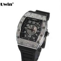 디자이너 럭셔리 브랜드 시계 E 다이얼 전체 모조 다이아몬드 아이스 실버 컬러 쿼츠 손목 ES 남성 여성 패션 선물