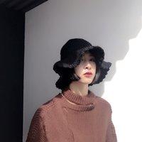 Рука вязаная женская осень и зима новая универсальная чистая цветная шерсть бассейна шляпа складной рыболовы