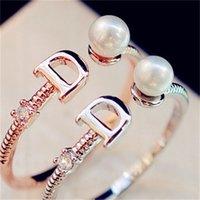 2021 European Brand Gold Plated Letter D Anello Moda Perla Vintage Charms Anelli per Festa di nozze Vintage Finger Ring Costume Gioielli 59 R2