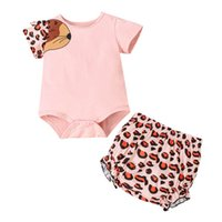 Infant Clothing Sets Girls Outfits Baby Clothes Kids Summer Cotton Short Sleeve Leopard Jumpsuit Rompers Shorts Pants 2Pcs 0-2T B5280