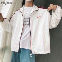 Men's Jackets Men Long Sleeve Comfortable Jacket Loose Mens Turn-down Collar Zipper Korean Style All-match Ulzzang BF Chic