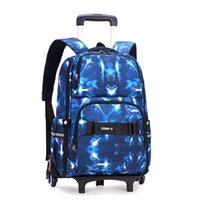 Школьные сумки 6 колес съемный вагонечный рюкзак большие дети девочек мальчики дети путешествовать школьная сумка Mochilas Escolares