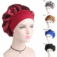 Beanie Skull Caps Solid Adjustable Satin Bonnet Hair Styling Long Care Women Night Sleep Hat Silk Head Wrap Shower Cap Covers