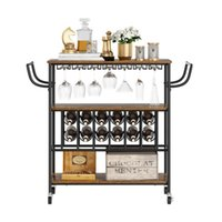 American Dining Room Cart With Wine Rack And Glass Holder Retro Iron SIDEBOARD CABINET Mobile Car Shelf Idustrial Style Bar Trolley
