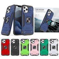 Telefone Capas Magnéticas Suporte de Carro Anel de Anel à prova de choque PC + Tampa do TPU para iPhone 12 11 Pro Max Xs Plus Samsung Galaxy S20 Note10