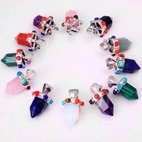 Crystal stone Healing Pointed Chakra Pendants Hexagonal Gemstones Quartz Bullet Shape Women Girls Gift
