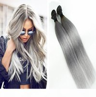 Grigio Ombre Bundles di capelli lisci 3 Bundles Due toni Tono peruviano Brasiliano Virgin Virgin Human Hair Bundles Black and Grey Hair Weft