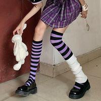 Tukucai Striped Socks Children Calf Socks over the Knee Stockings E-Sports Girly Style High-Top Dark Japanese Punk Fashion JK
