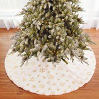 Christmas Decorations Tree Skirts White Sequins Embroidered Carpet Apron Dress Holiday Party Ornaments