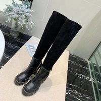 Women G Letter Canvas Over-the-knee Boot Designer Lady Leather Trim Rubber Sole Thigh-High Boots