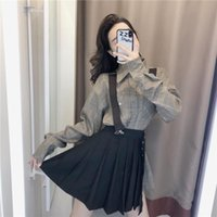 Vestido de dos piezas Nicemix Spring Mujeres Traje de manga larga coreana Camisa a cuadros de manga larga negra Falda plisada negra Moda Ropa de dos piezas Tops Faldas Conjuntos F