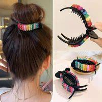 Hair Accessories 1PCS Girl Fantasy Gradient Princess Hairpin Shiny Rainbow Children Rectangular Oval Claw Clip