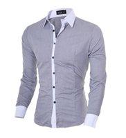 Nova Primavera DOS Homens Marca De Slim Fit Vestido Camisa Masculina Mangas Compliss повседневные мужские рубашки