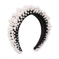 Tienda de esponjas espesas europeas y americanas Mujeres, imitación de perlas de moda con cuentas de accesorios para el cabello creativo, ala ancha Pulse Hairband