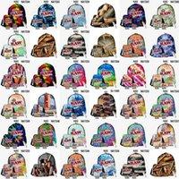 3pcs / set hype multi pastello multicolor tie tie tinte zaini di viaggio borse all'aperto sacchetti con cerniera tasche frontale anteriore naughty paper ondulato penna a spalla jllczw