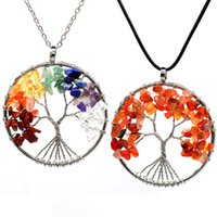 D1609 Wholesale Women Jewelry Rhinestone Pendants 7 Chakra Quartz Natural Stone Tree of Life Pendant Necklace