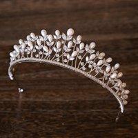 Зажимы для волос Barnettes Full Zircon Shell Pearl Tiara Оголовье Корона Ювелирные Изделия Невеста Головной убор Свадебные Аксессуары Оголовки Bijoux Cheveux Парик