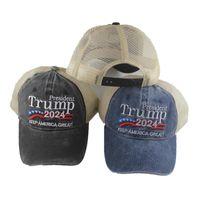 Дональд Трамп 2024 шляпы США бейсбол дышащие колпачки хранят Америку Великолепный президент Snapback Быстрая сухая шляпа 3D вышивка президент GWF8553