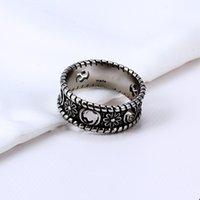 Classic Love Black Silver Cross Chrysanthemum Flower Retro Banda anelli per uomo e donna Amante Anniversario di fidanzamento Coppie regalo di gioielli da sposa