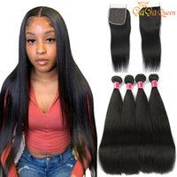 Brazilian Straight Hair Bundles With 4x4 Closure Unprocessed...