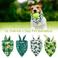 St. Patrick's Day Pet Bandanas Lucky Shamrock Bandanna Reversible Triangle Bibs Scarf For Dogs Cats Pets Animals Dog Apparel