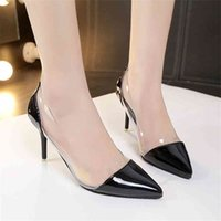 Latest Fashion Women THIN High Heels Luxury Brand Exclusive Leather and PVC Pointed Toe Pumps Dress Shoes 8CM Women Shoes