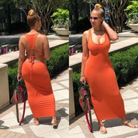 2021 Sexy Backless Lace-Up Solid Vestido Womans Designers Ropa Mujeres Largos Maxi Vestidos