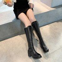 Botas para mujer otoño de cordones arriba muslo sexy tacones altos zapatos femeninos botas-mujeres redondo toe stiletto sobre la rodilla damas ro
