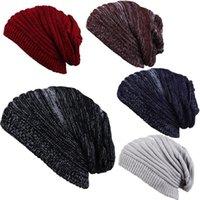 Ball Caps Striped Baggy Skullies Beanies Hats For Men Winter Cap Men's Outdoor Bonnet Hat Male Soft Warm Knitted Hip-hop Boys