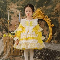 2021 Spring Kids Girl Dress Lace Patchwork Yellow Puff Sleeves Princess Dresses Wedding Piano Perform Party Clothes 2581 Y2