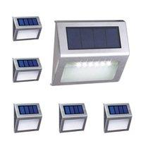 6 LED lâmpadas solares ao ar livre passo de iluminação luzes frios branco Auto on / off de aço inoxidável para fence pátio caminho de jardim à prova de intempéries