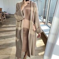 Women utumn Winter Thick Cozy Loose Long Sweter Cot Full Sleeve Knitted Crdign Jcket Open Stitch Overcot