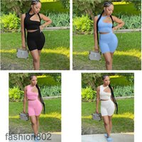 Designer Summer Womens 2 Piece Tracksuits Set Shorts Outfits Tracksuit Solid Color Casual Women's Clothing Sexy Hollow out Tops Suit Plus Size fashion802
