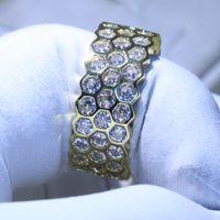 Anéis Geométricos Hexágono 925 Prata Preencha Jóias de Luxo Net White Topaz Cz Diamond Eternity Circle Anel de banda de casamento para