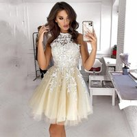 2021 High Neck Appliques Lace Mini Homecoming Dress Beach Tulle Prom Gowns Princess Sleeveless Graduation Dresses Customize