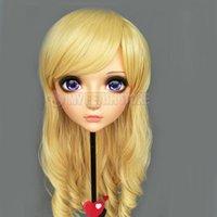 Máscaras de fiesta (ZHI-01) Femenina Dulce Chica Resina Half Head Kigurumi Máscara con BJD Ojos Cosplay Papel de anime japonés Lolita Crossdress Muñeca