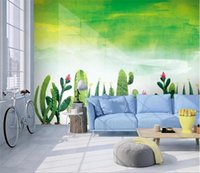 Wallpapers Custom Wallpaper Simple Hand-painted Watercolor Garden Cactus Living Room TV Background Wall Painting Po 3d
