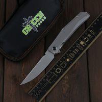 Green Thorn Mini Persa Flipper CUCHILLO D2 Blade Titanium Alloy Manija Camping Cuchillo de fruta al aire libre Práctico Cuchillo plegable EDC