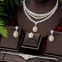 Pendientes Collar Sparkly Luxury Elegant 4 PCS Pulsera Anillo para las mujeres nobles Fiesta de boda Bridal Show Joyería Conjuntos 2021