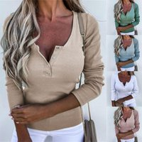Women's Blouses & Shirts Autumn Elegant Blouse Lady Shirt Solid Color Slim V Neck Pullover Buttons For Work Female Clothing Top Women 2021