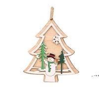Weihnachtsdekorationen Baum Anhänger Holzschnitt Santa Claus Schnee Sterne Ring Glocken Hirsch Herz Zierlich Festival Geschenk Bäume Ornamente FWE10455