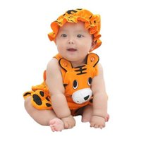 Cartoon Kids Clothing Sling Jumpsuit Hat Sets Cute Clothes Set Baby Summer Boys And Girls Children's Baby Cotton Suspenders Watermelon Tiger Tracksuit G60R51I