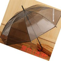 カラフルな透明な長いストレートハンドル傘自動ブラックレインボーカスタムロゴの傘防水8骨傘4 R2