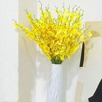 Forks flor artificial amarelo dançando orquídea para casamento decoração de casa seda Phalaenopsis flores falsas flores decorativas